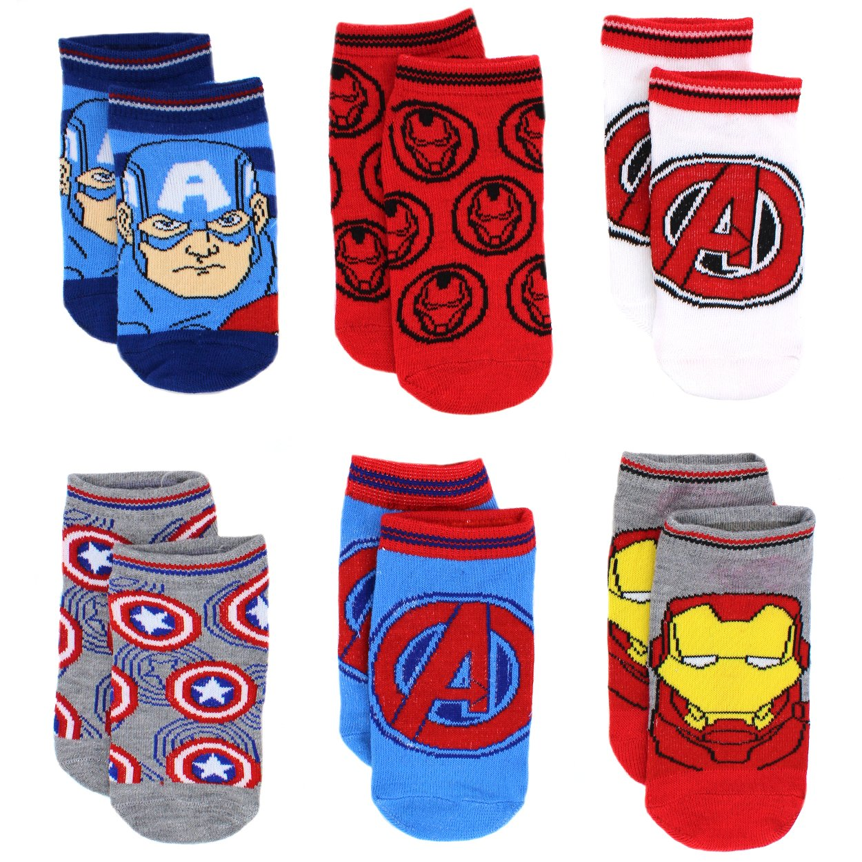 Avengers Boys 6 pack Socks (Toddler/Little Kid/Big Kid) Assemble Blue/Red) Marvel AVA837-L