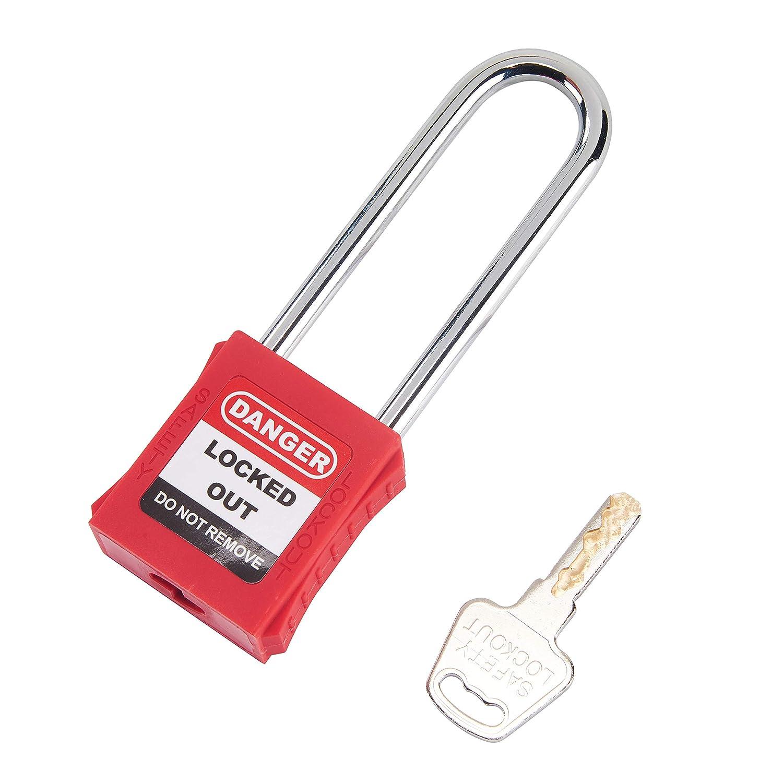 OHMOTOR Lucchetto di sicurezza 2-4//5 Insulated Shackle confezione da 2 Blocco di sicurezza,Chiave diversa
