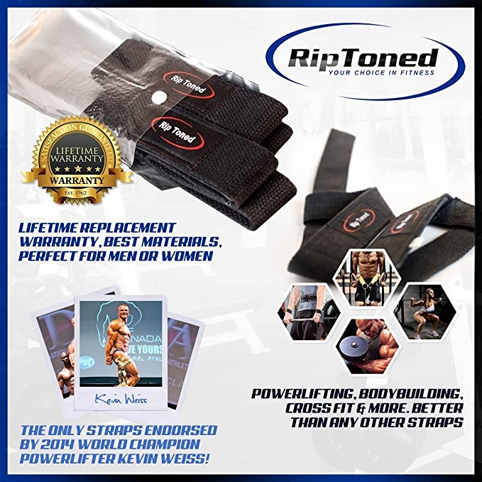 Lifting Straps + Wrist Wraps Bundle (1 PAIR of Each) by Rip Toned - *Bonus Ebook* for Weightlifting, Crossfit, Workout, Gym, Powerlifting, ...