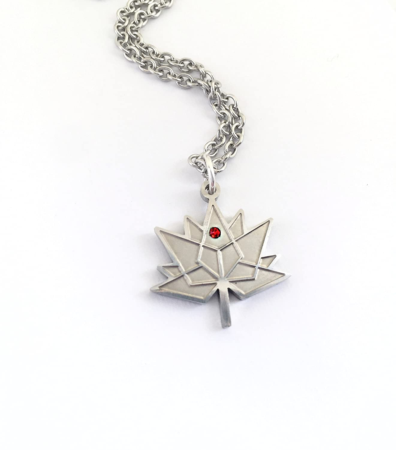 necklace with maple leaf silver full gold plated or moon