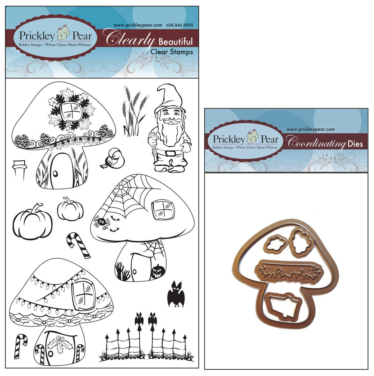 Prickley Pear Fall Christmas Gnome Homes Clear Stamp and Die Set - CLR058A & PPRS-D058 - Bundle 2 Items