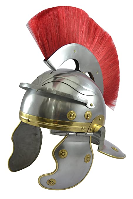 Centurión romano casco con rojo réplica pluma en la parte superior del casco Romano