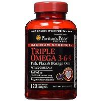 Puritan's Pride Maximum Strength Triple Omega 3-6-9 Fish, Flax & Borage Oils-120 Softgels