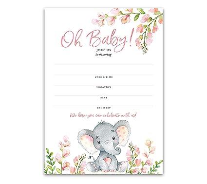 Invitaciones Para Baby Shower Con Elefante Rosa Paquete De