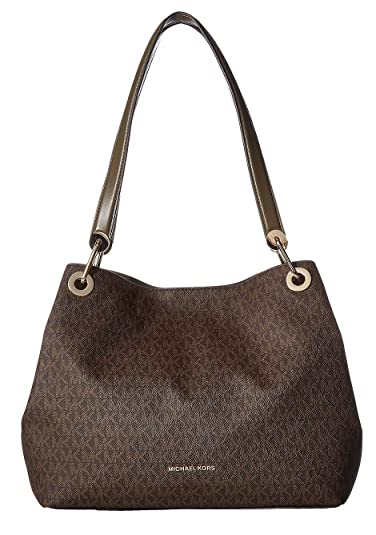 3b877d81572723 MICHAEL Michael Kors Raven Large Shoulder Tote Olive/Brown: Handbags ...