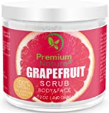 Exfoliating Grapefruit Face & Body Scrub - 12 Oz 100% Natural Cleanser Best Exfoliator - Strech Mark and Cellulite Removal with Sea Salt and Essential Oils - Exfoliates Moisturizes Premium Nature