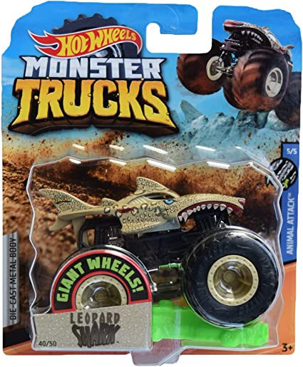 Amazon Com Hot Wheels Monster Trucks Leopard Shark 40 50 Sand Toys Games