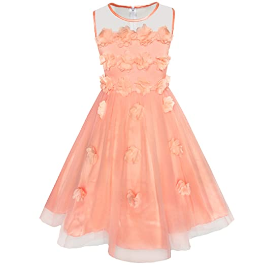 d8293f230 Sunny Fashion KV51 Girls Dress Yellow Dimensional Flower Bridesmaid Wedding  Dress Size 5