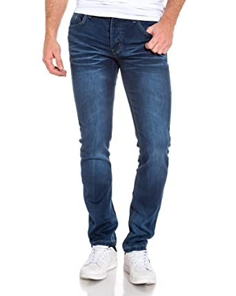BLZ Bleu Fantaisie Jean Jeans délavé Droit Zip Homme wZUcw