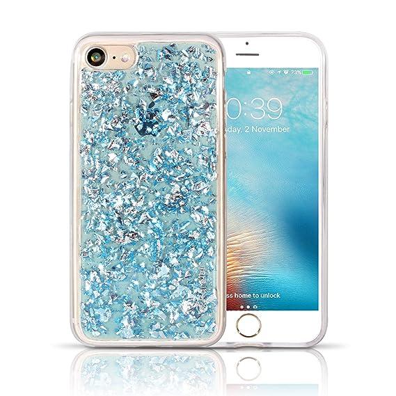 iPhone 7 Clear Glitter Case for Girls - Elegant Look Bling Design Foil  Embedded Soft TPU c76377b0b