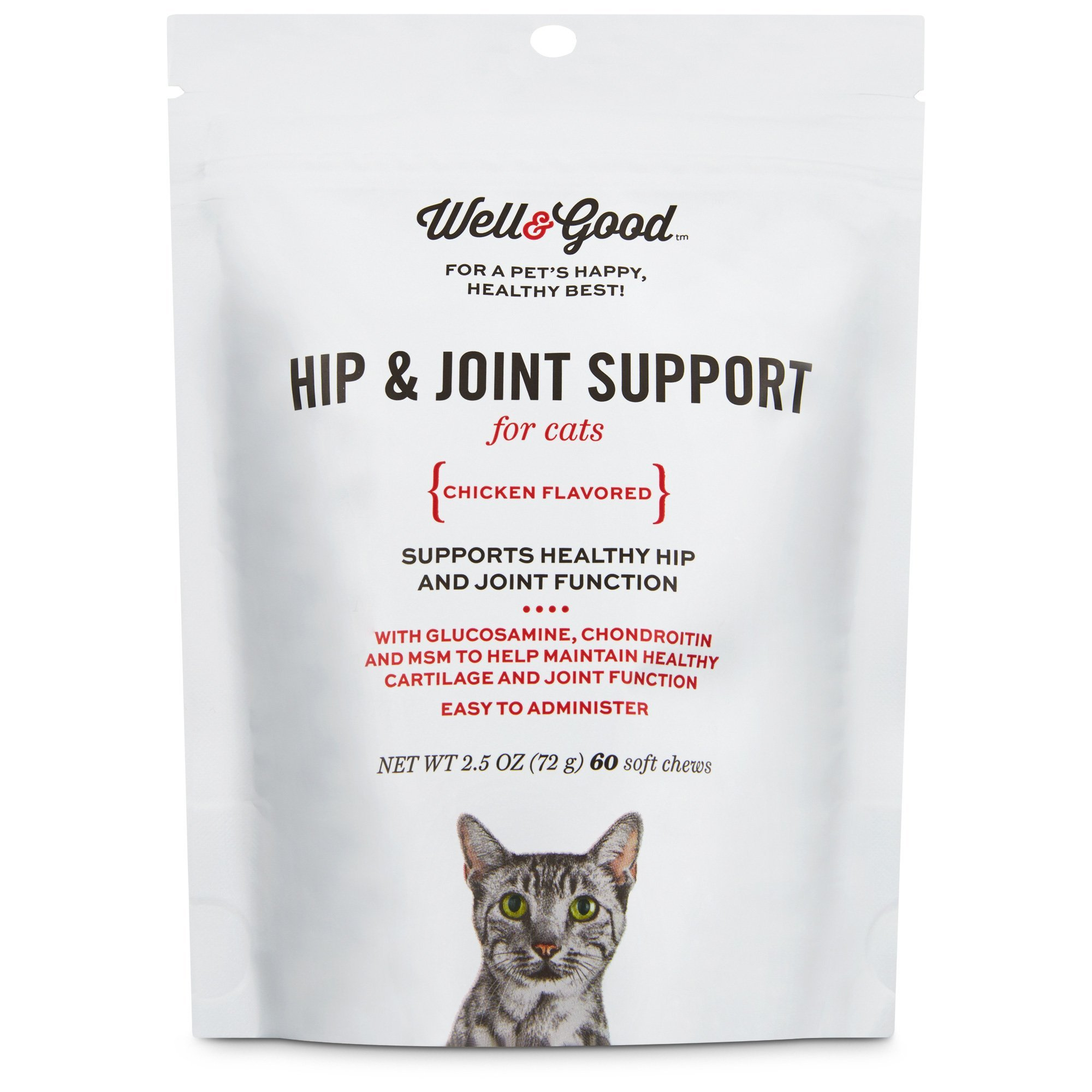 Well & Good Hip & Joint Support Cat Chews, Pack of 60 chews