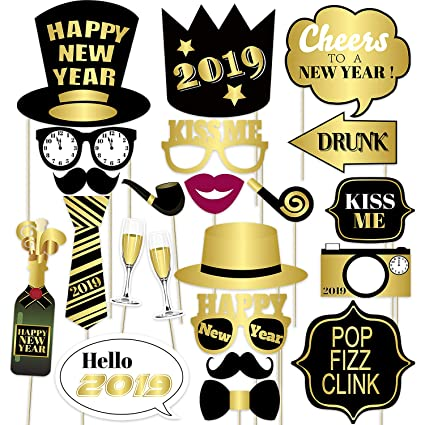 Amazon.com: Happy New Year 2019 Photo Booth Props - New Years Eve ...