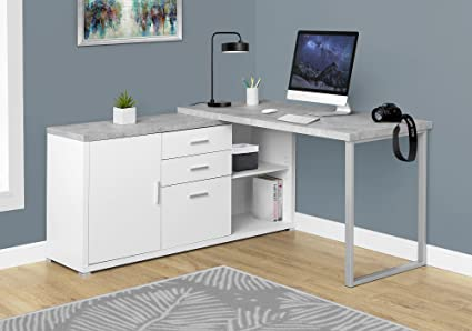 Amazoncom Monarch Specialties Computer Desk L WhiteCement - Cement look dining table