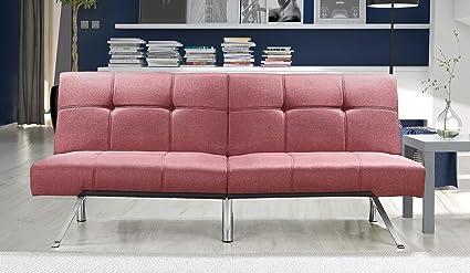 Novogratz Simon Futon Sofa Bed with Chrome Slanted Legs, Mid-Century Modern Design, Rich Marsala Linen