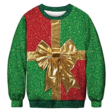 Camiseta Hombre Navidad Amlaiworld Hombres Otoño Invierno 3D Impresión de Navidad Manga Larga O-Cuello Sudadera Blusa Sudaderas Ugly Sweater: Amazon.es: ...
