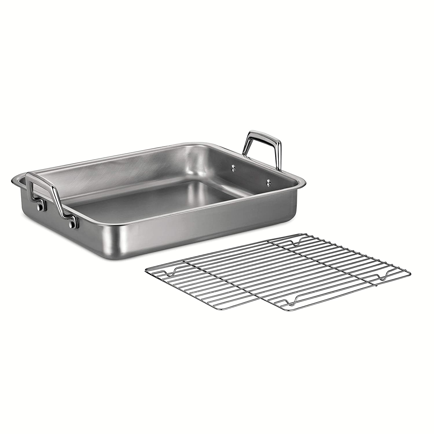 Tramontina 80203/004DS Gourmet Prima Rectangular Stainless Steel Roasting Pan with Basting Grill, 15-Inch, Made in Brazil