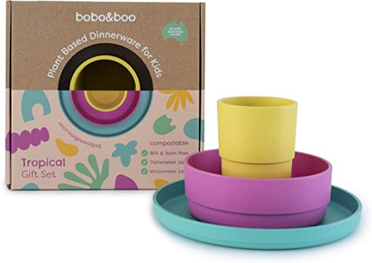 BOBO&BOO - Vajilla a base de plantas para niños, 3 piezas ...