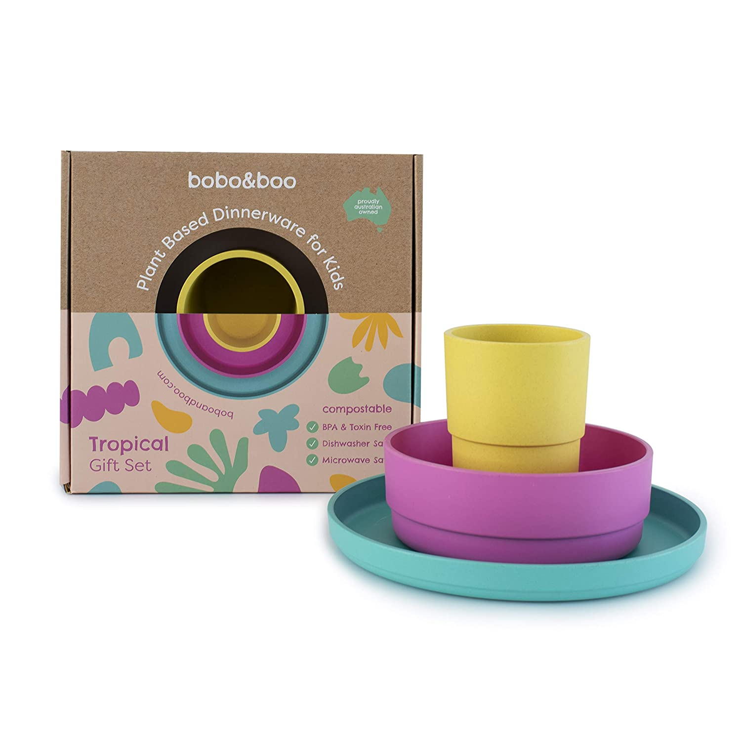 BOBO&BOO Plant-Based Dinnerware Set for Children, 3 Pieces - Eco-Friendly Kids Dishes, Microwave and Dishwasher Safe - Biodegradable Cups, Plates, and Bowls - Plant-Based Dishware - TROPICAL