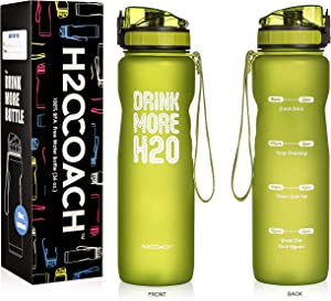 H2OCOACH Sports Water Bottle with Time Marker | Motivational 36 oz, Drink More, Reusable with Fruit Infuser Filter (1 Liter)