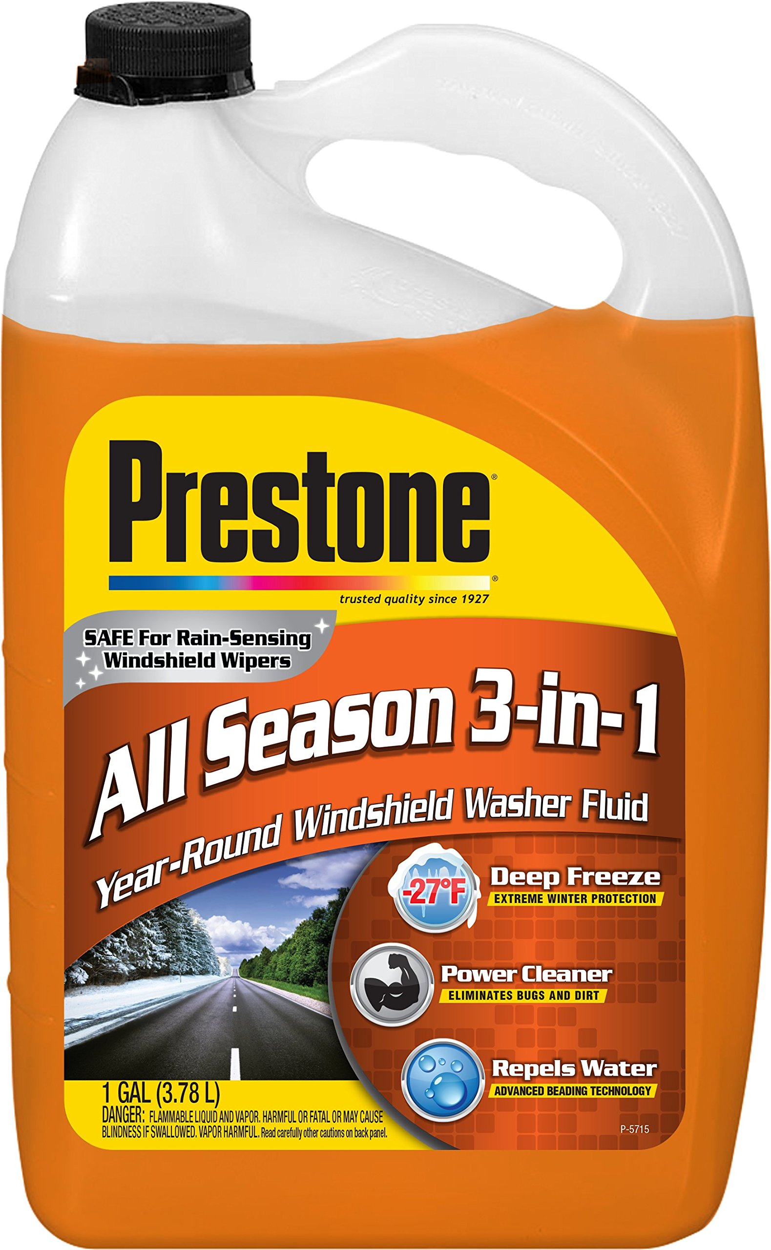 Prestone AS658-6PK Deluxe 3-in-1 Windshield Washer Fluid, 1 Gallon (Pack of 6)