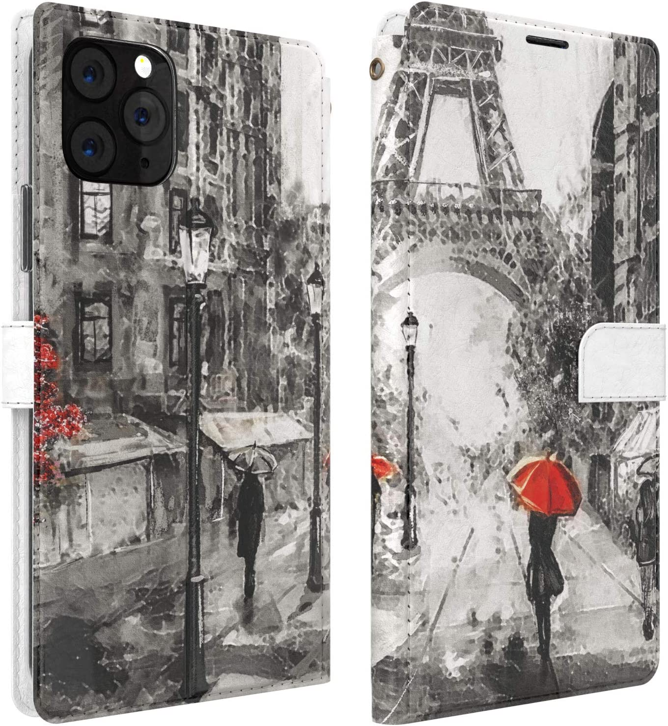 Mertak Wallet Case Compatible with iPhone 11 Pro Max SE 10 Xr Xs X 8 Plus 7 6s PU Leather France Paris Cover Lightweight Folio Painting Eiffel Tower Magnetic Red Rainy Flip Travel Slim Fit