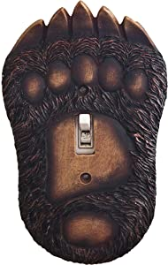 Wooden Black Bear Paw and Claw Single Light Switch Cover. Decorate your Cabin's Electrical Plates!