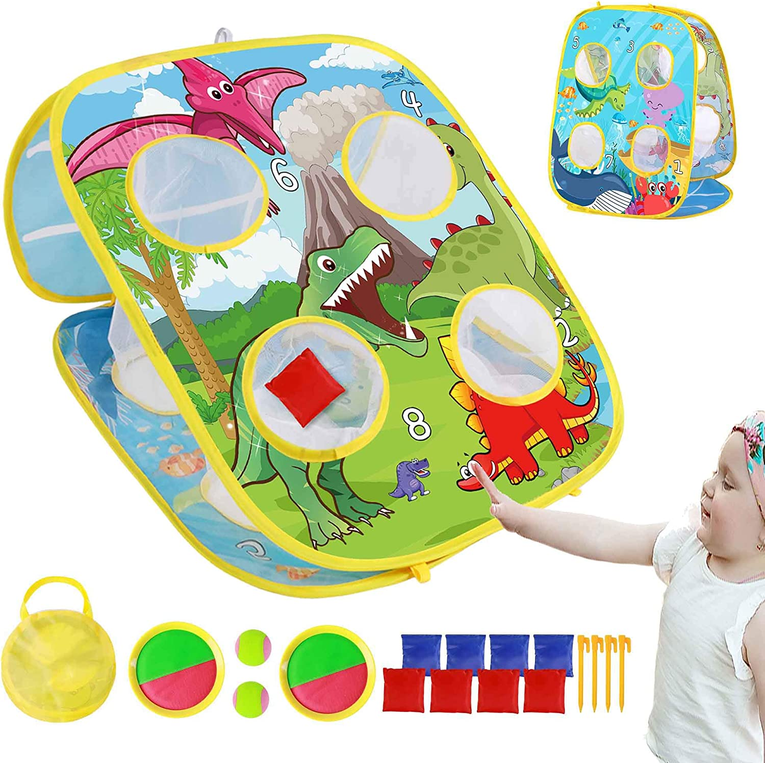 TOMYOU Bean Bag Toss Game Toy & Catching Game Set for Toddlers Age 3 4 5 6 Year Old, Gift for Kids Birthday or Christmas, Dinosaur Themed, Indoor & Outdoor Toys, 8 Beanbags