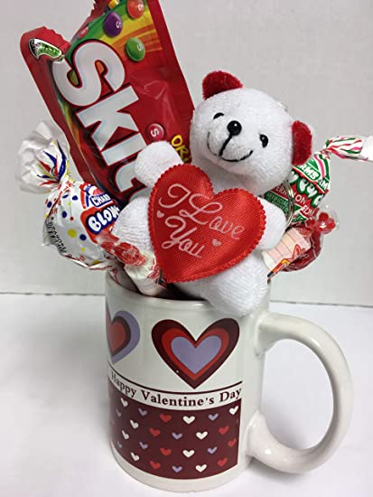 Amazon Com Valentine S Day Gift For Her 1 Happy Cup 1 Teddy Bear 1 Assorted Goodies I Love You Cup White Gift Basket Toys Games
