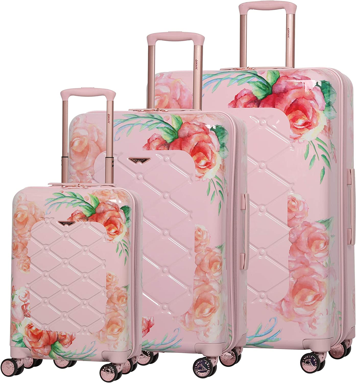 Aerolite Juego de 3 Equipaje Maleta Rígida de Policarbonato con 4 Ruedas, 55cm Equipaje de Mano + 69cm + 79cm, Rosa Floral