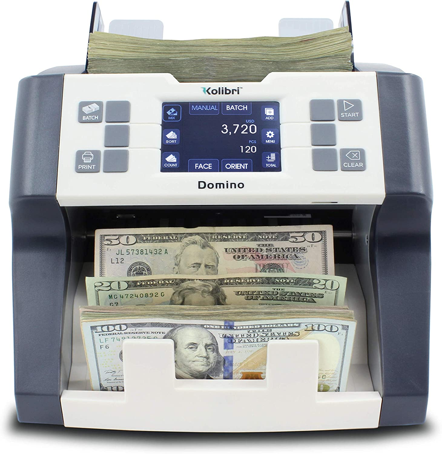 Kolibri Domino Bank Grade Professional Mixed Denomination Money Counting  Machine and Bill Reader with Ultraviolet,Magnetic and Infrared Counterfeit