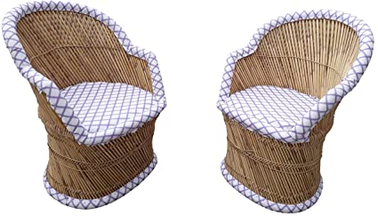 PatioStack Bamboo Leather Handicraft Outdoor Rattan & Wicker Sitting Chairs Furniture Set for Garden / Terrace / Lawn / Balcony / Restaurant / Cafe / Living Room / Drawing Room [ 2 MultiColor Chairs, Size :18*18*34 ]