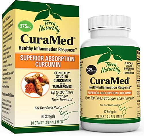 Terry Naturally CuraMed 375 mg – 60 Softgels – Superior Absorption BCM-95 Curcumin Supplement, Promotes Healthy Inflammation Response – Non-GMO, Gluten-Free, Halal – 60 Servings