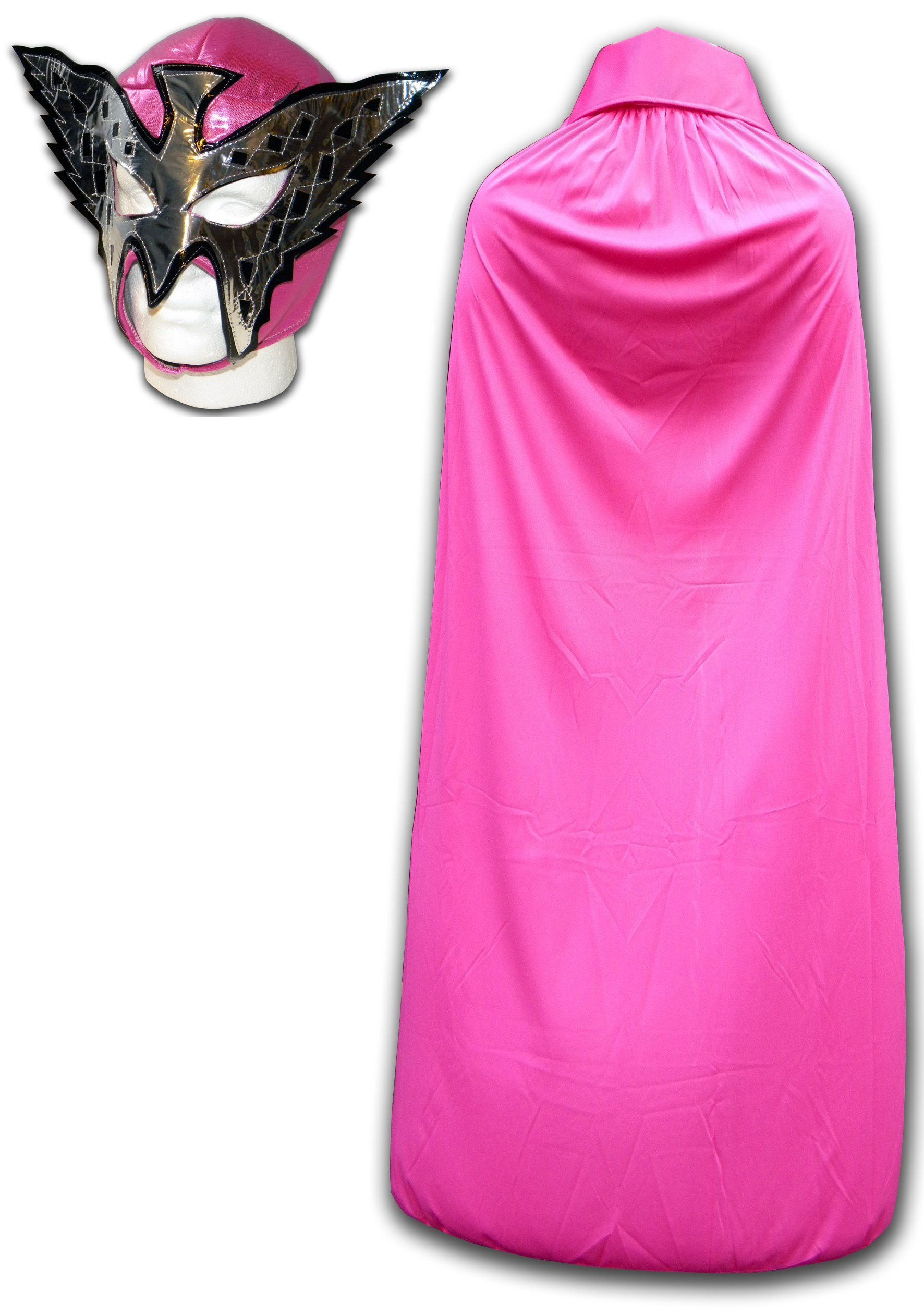 Luchadora Men's Princess Wrestling Outfit Mask And Cape One Size Pink