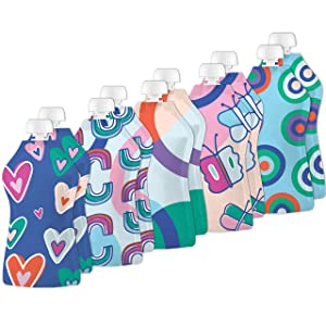 Squooshi Reusable Food Pouches – Snack Bags & Freezer Storage- Assorted Snacks Pouch, Refillable, Leak-Proof Zipper Set for All Age Groups (Pack of 10)