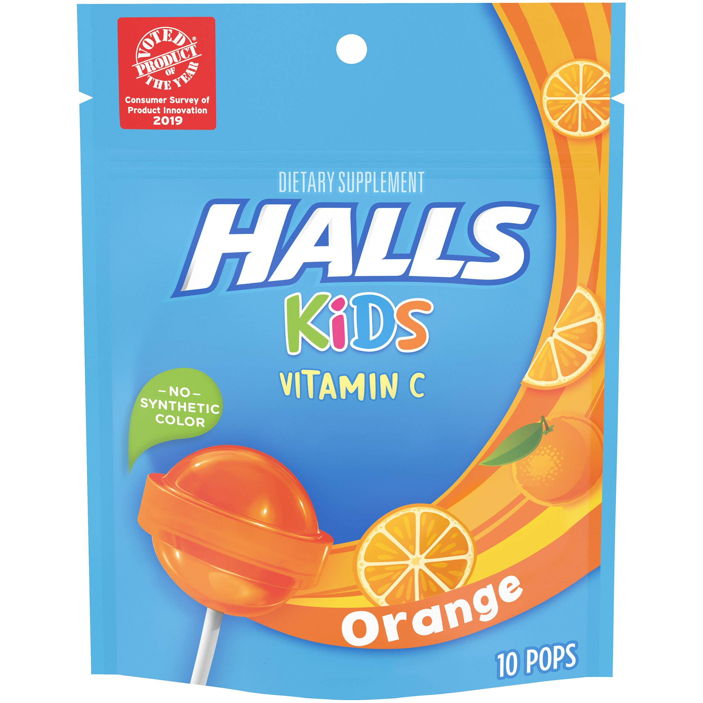 Halls Kids Orange Vitamin C Pops - for Children - 10 Pops (1 bag of 10 Pops)