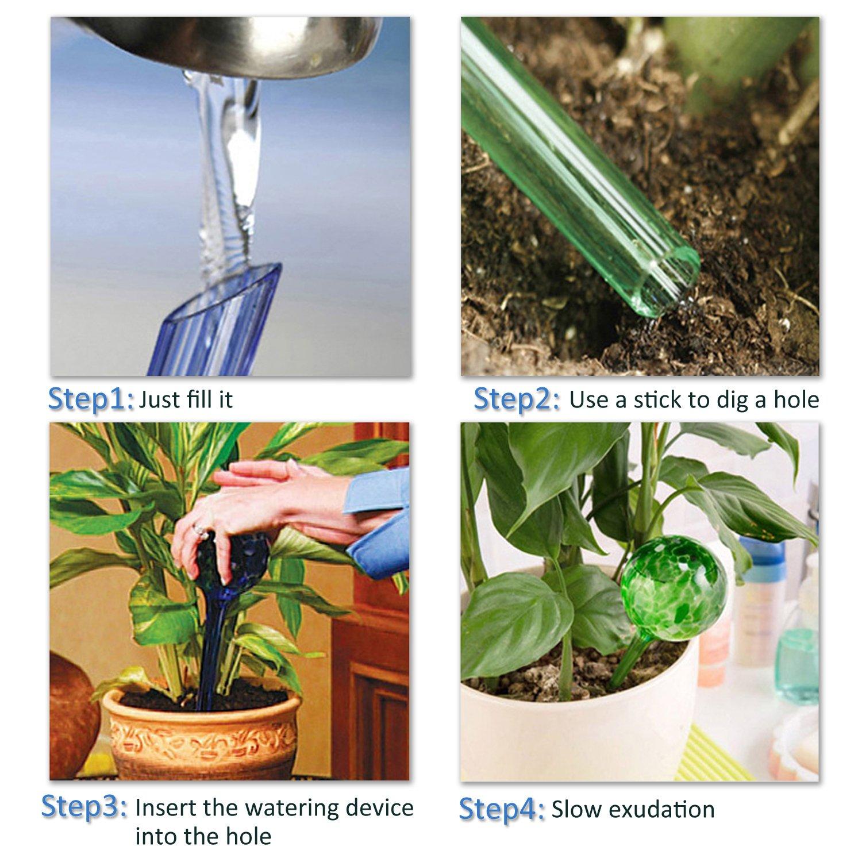 Self-watering Bulbs, Fascigirl 4 pack Hand-blown Glass Plant Watering Device Aqua Globes Bulbs Self Automatic Watering System