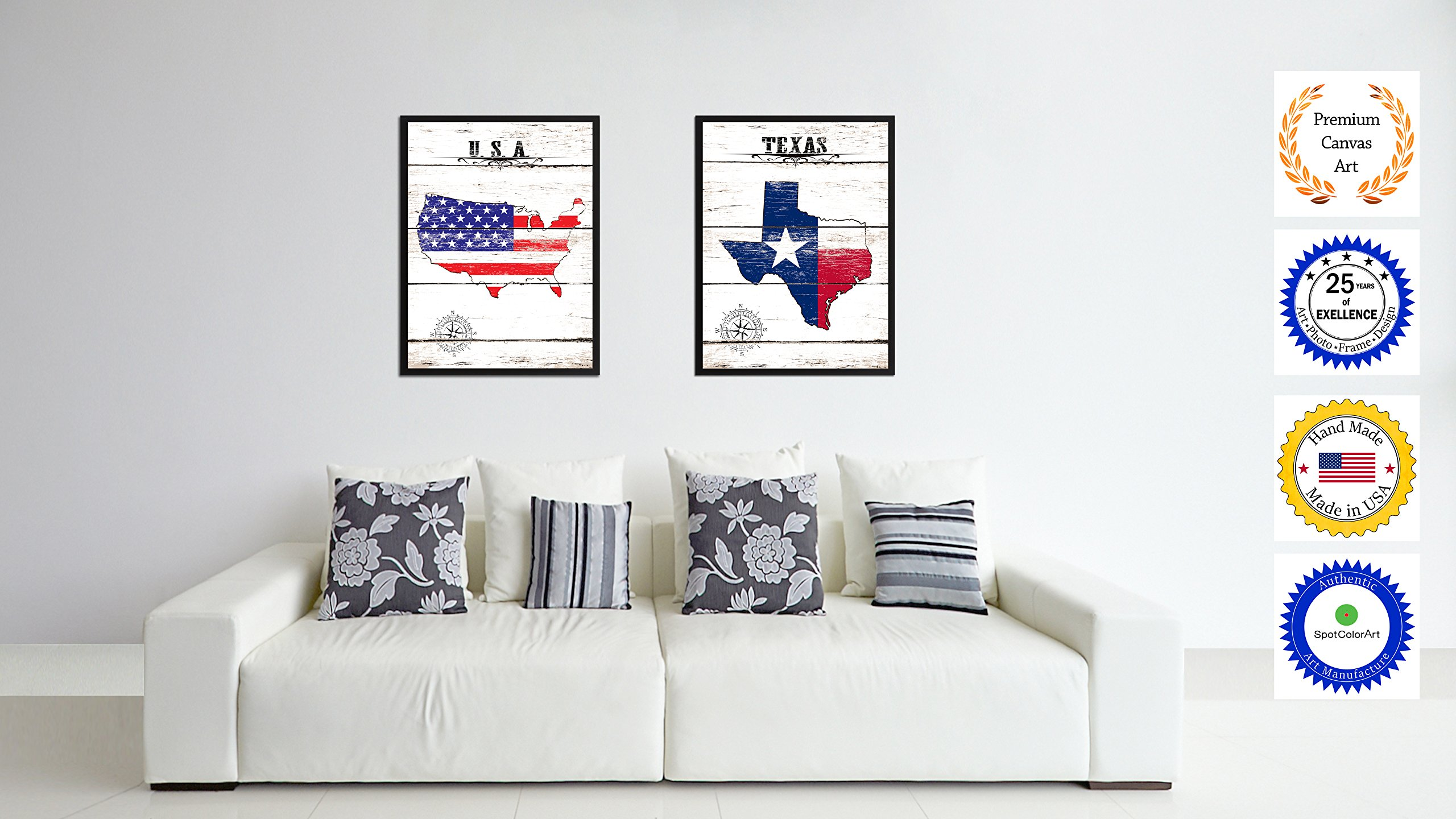 SpotColorArt Texas State Vintage Flag Handcrafted Framed Canvas Print by SpotColorArt (Image #2)