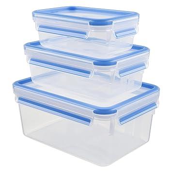 code promo 268ee 7934d Tefal K3028912 - Masterseal Fresh - Boîte plastique de conservation  alimentaire - Set 3 boîtes 2.30L+1L+0.55L - Bleu
