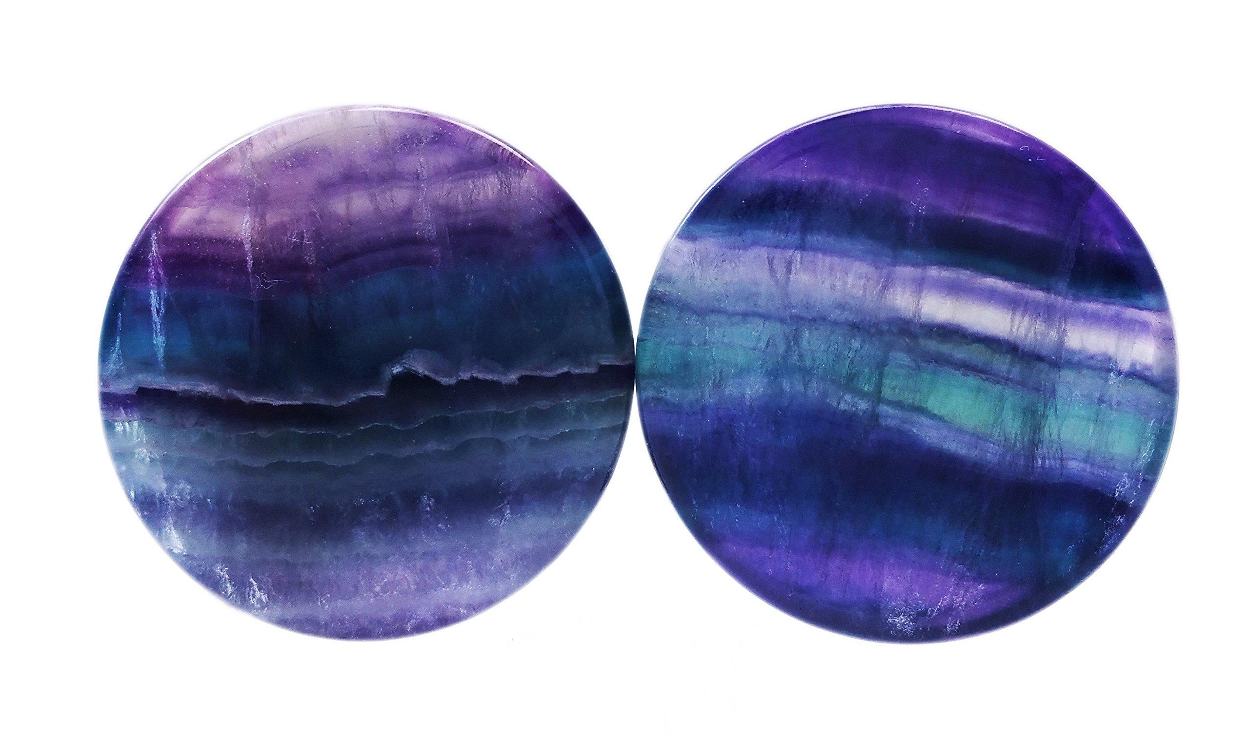 PAIR 8G-38mm Rainbow Fluorite Stone Plugs Tunnels Gauges Double Flare Organic Blue Purple (1-1/4'' (32mm))