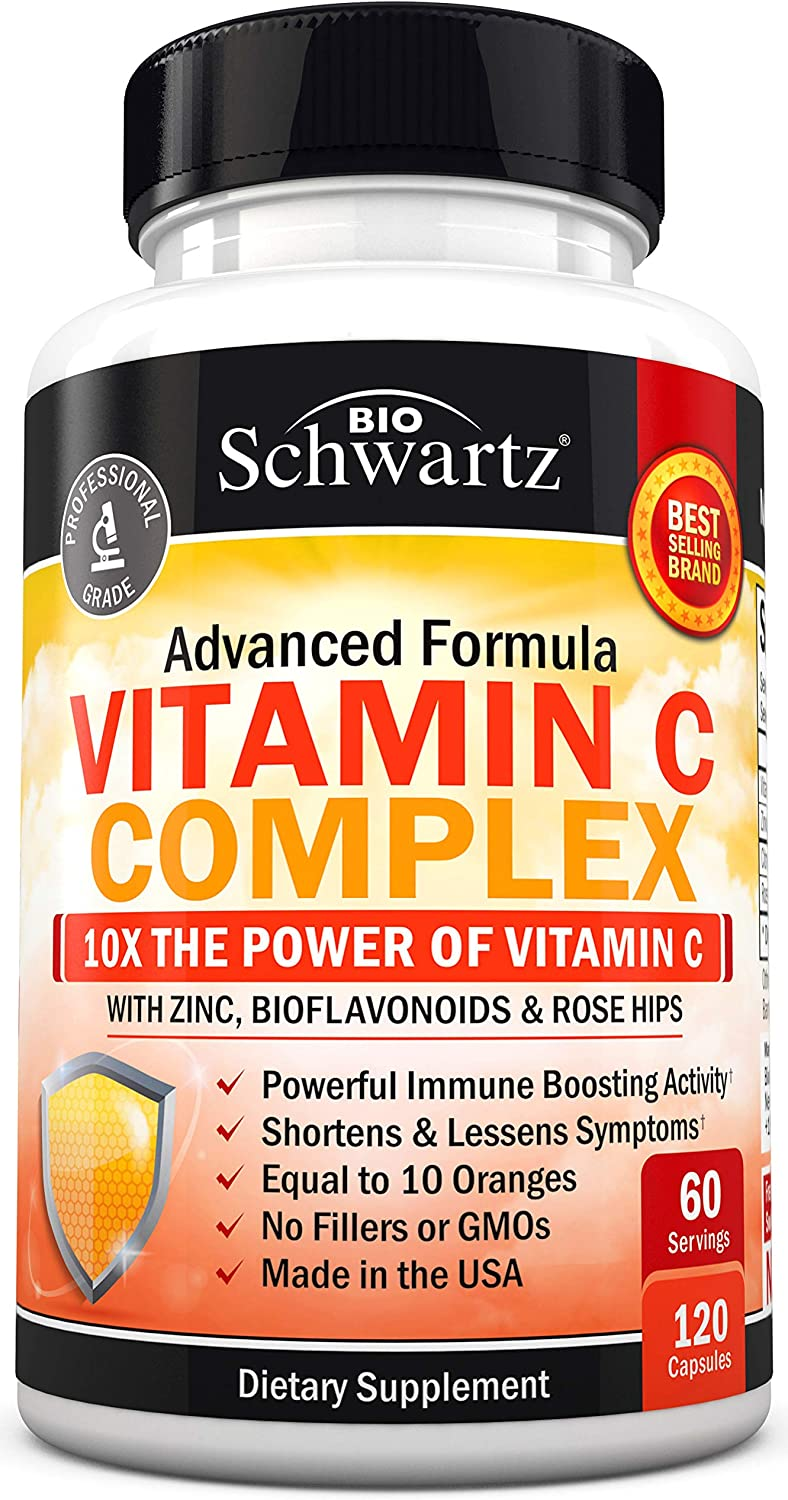 Vitamin C 1000mg Capsules with Zinc, Rose Hips & Bioflavonoids - Immune Support Supplement with 10x The Power of Vitamin C - Shortens & Lessens Symptoms - Equal to 10 Oranges - 120 Capsules