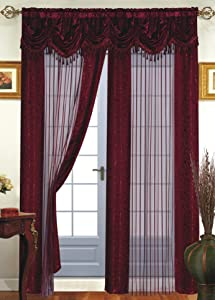 Dainty Home Tango Window Curtain with Attached Valance, 56x84''+18'', Burgundy