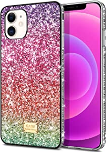 WOLLONY Compatible with iPhone 12 Mini Case Bling Sparkle Cover Shockproof Hybrid TPU Hard Anti-Slip Back Soft Rubber Bumper Protective Cover Compatible with iPhone 12 Mini 5.4inch 5G Purple