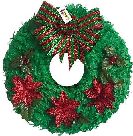 christmas wreath pinata 16 poinsettia details