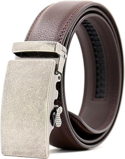 Genuine Leather Ratchet Belt with Automatic Buckle Ayli Mens Dress Belt