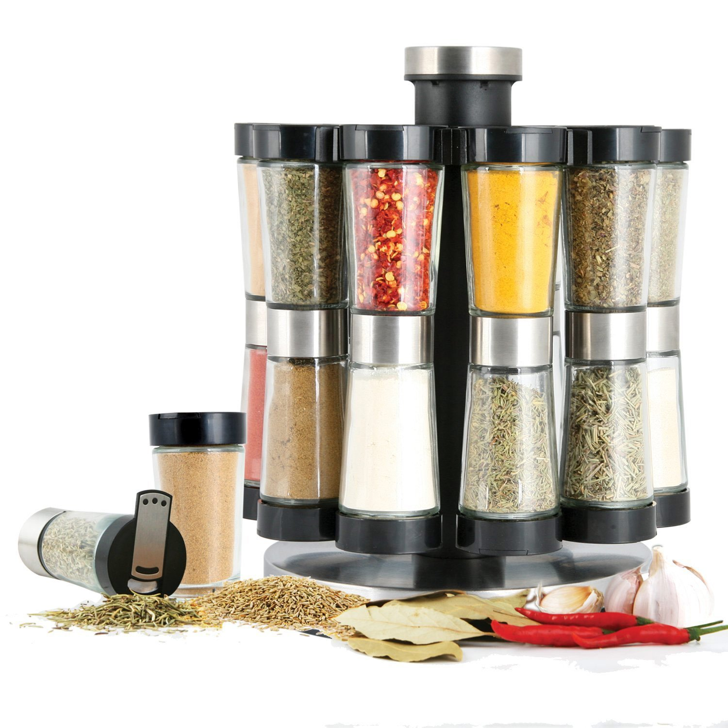Orii GSR2520 Hourglass Kitchen Spice Rack, Silver