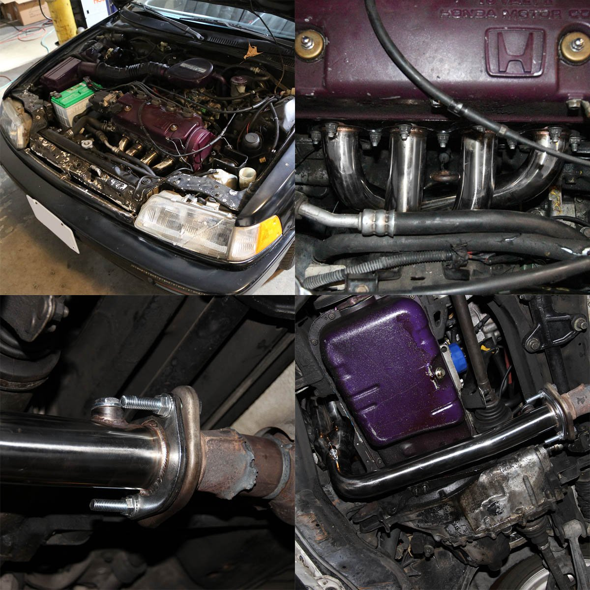 For Honda Civic//CRX//Del Sol Performance 4-2-1 Design Stainless Steel Exhaust Header Kit Black Paint Finished