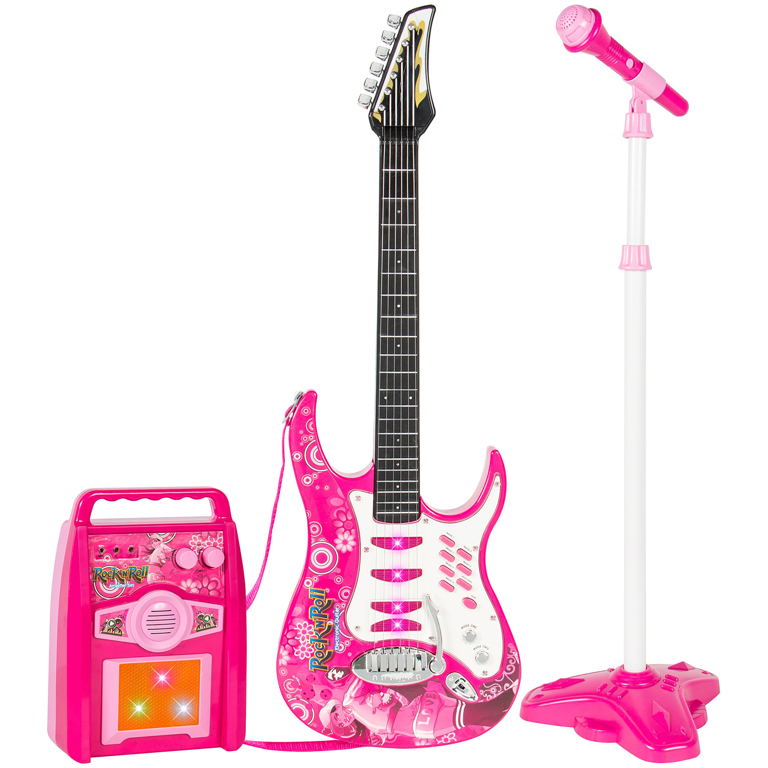 Best Choice Products Electronic Kid Guitar W/ MP3 Player & Microphone & Amplifier Children Play Set - Pink