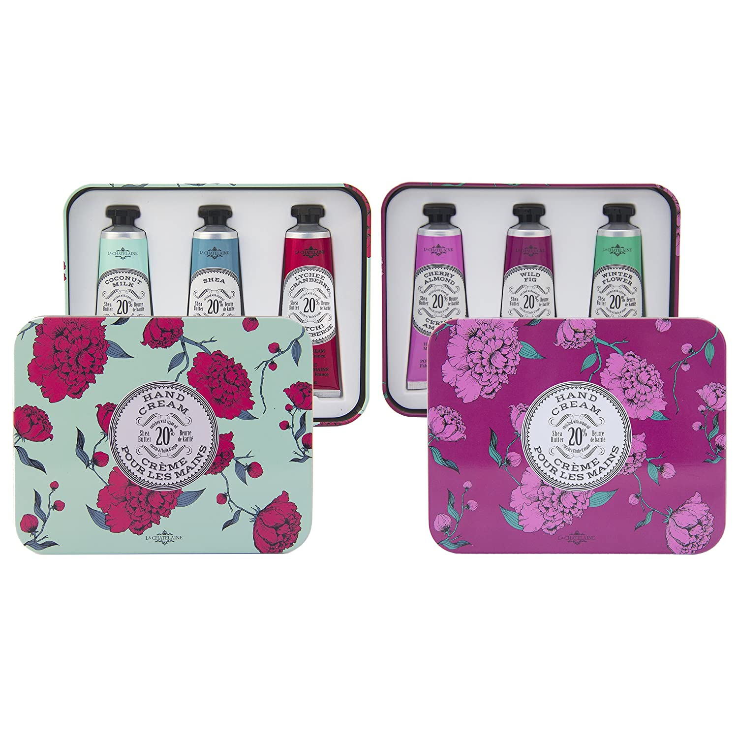 La Chatelaine 20% Shea Butter Hand Cream Gift Sets, Pack of 2 Tins, Aqua & Eggplant, Nourishing, Extra-Rich, Beauty Gifts, Made in France, Travel Size Hand Lotion 6 x 1 fl oz/ 30ml Ton Savon