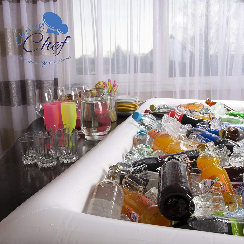 Lot de 2 grands plateaux gonflables pour table de billard avec bouchon de vidange pour garder vos salades et boissons au froid pour les f/êtes en int/érieur et en ext/érieur