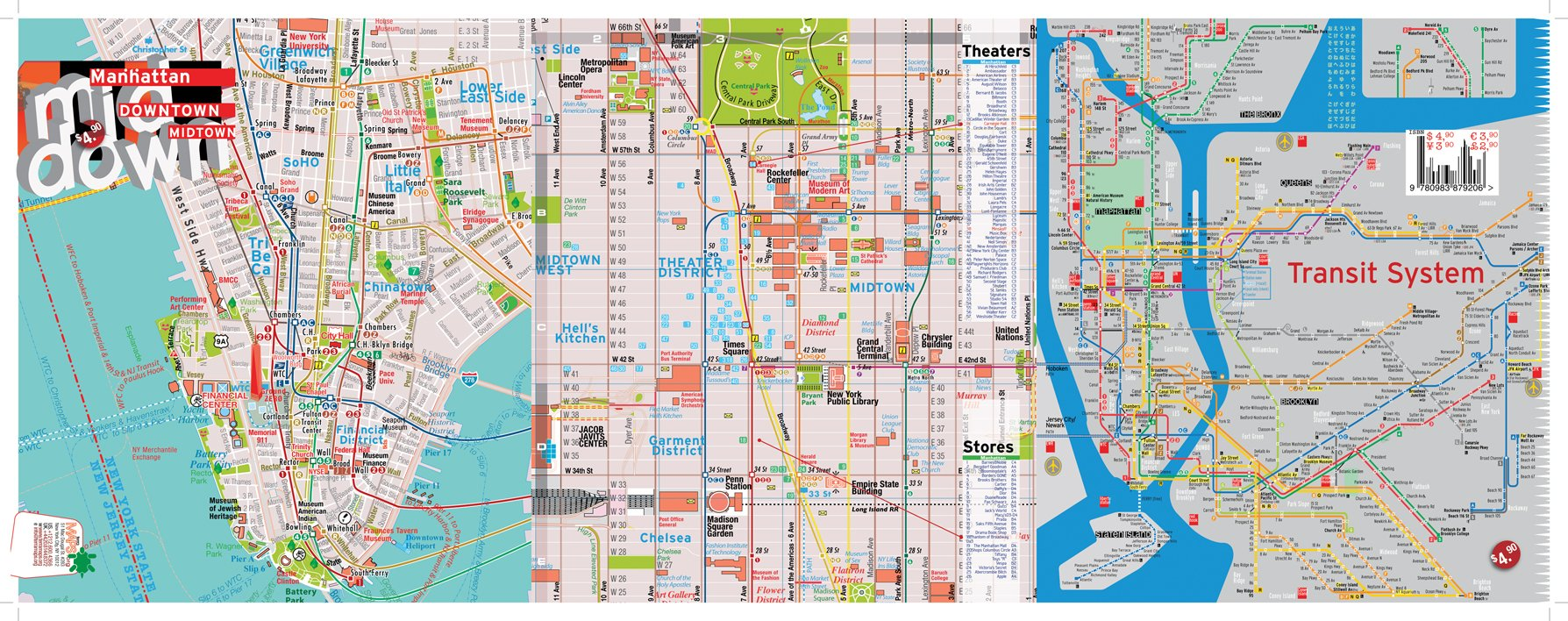 TerraMaps NYC Manhattan Street And Subway Map Waterproof AR - Nyc map soho